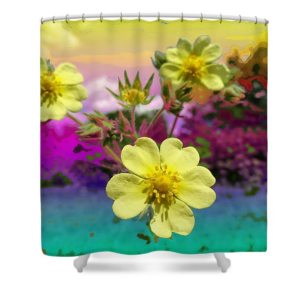 Wildflower Abstract Shower Curtain by Mike Breau