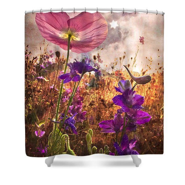 Wildflowers At Dawn Shower Curtain by Debra and Dave Vanderlaan