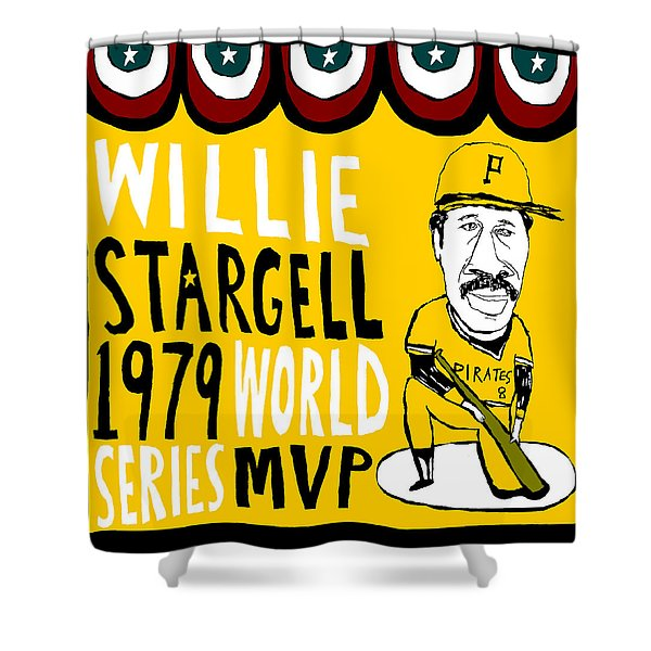 willie stargell pittsburgh pirates Shower Curtain by Jay Perkins