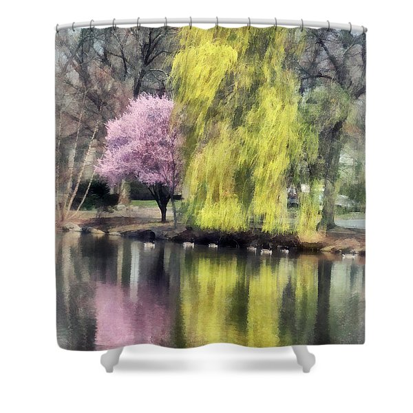 Willow And Cherry By Lake Shower Curtain by Susan Savad