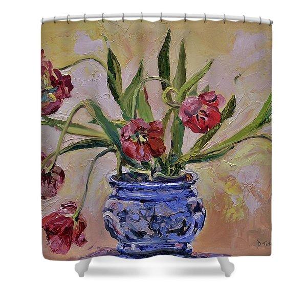 Wilting Tulips Shower Curtain by Donna Tuten