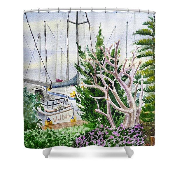 Wind Drifter Boat Oakland Marina California  Shower Curtain by Irina Sztukowski