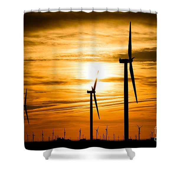 Wind Turbine Farm Picture Indiana Sunrise Shower Curtain by Paul Velgos