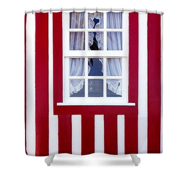 Window On Stripes Shower Curtain by Carlos Caetano