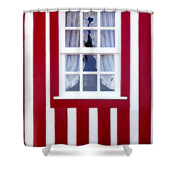 Window on Stripes Shower Curtain by Carlos Caetano