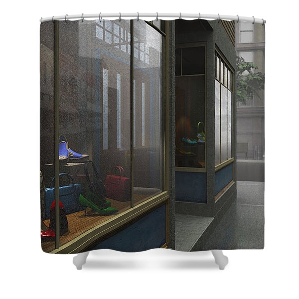 Window Shopping Shower Curtain by Cynthia Decker