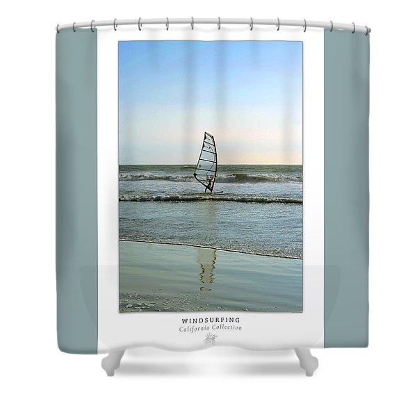 Windsurfing Art Poster - California Collection Shower Curtain by Ben and Raisa Gertsberg