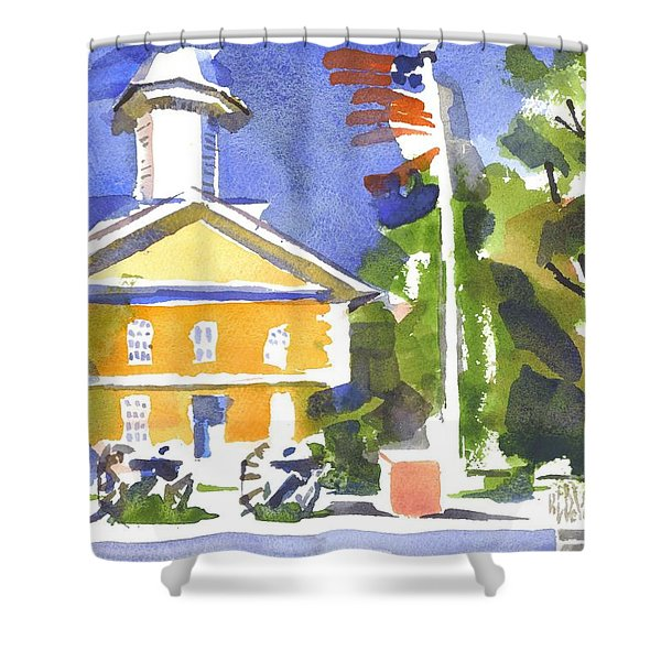 Windy Day At The Courthouse Shower Curtain by Kip DeVore