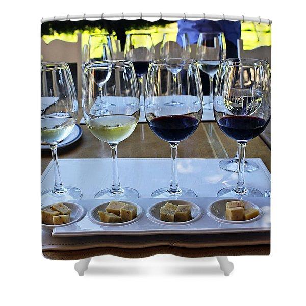 Wine and Cheese Tasting Shower Curtain by Kurt Van Wagner