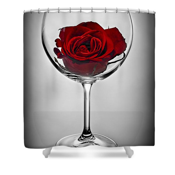 Wine glass with rose Shower Curtain by Elena Elisseeva
