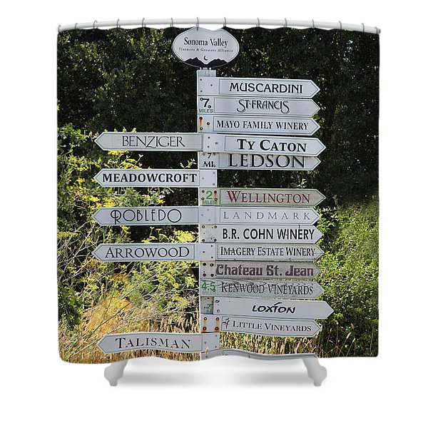 Winery Street Sign In The Sonoma California Wine Country 5D24601 Shower Curtain by Wingsdomain Art and Photography