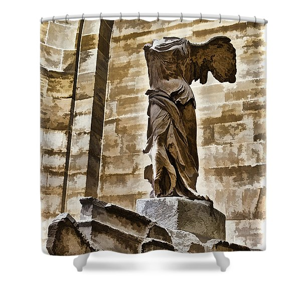 Winged Victory - Louvre Shower Curtain by Jon Berghoff