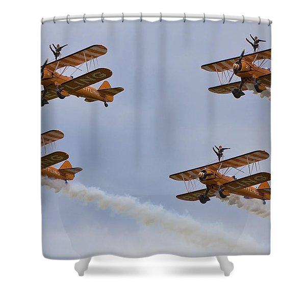 Wingwalkers  Perfect Sync Shower Curtain by Maj Seda