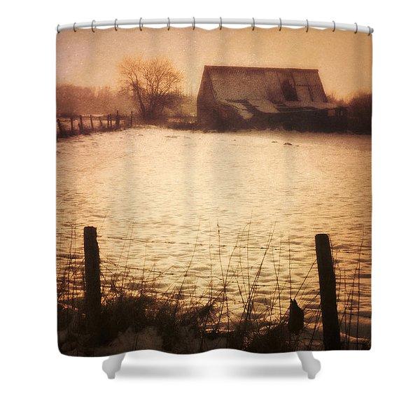 Winter Barn Shower Curtain by Wim Lanclus