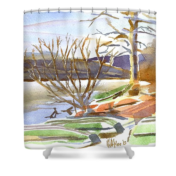 Winter Blue Shower Curtain by Kip DeVore