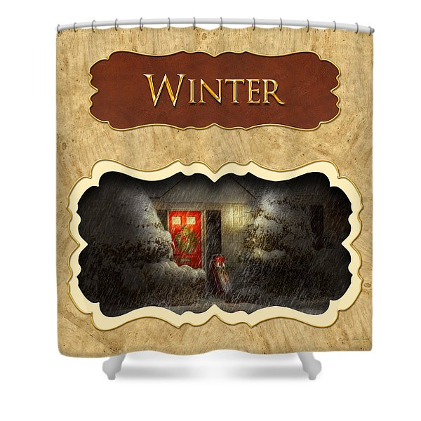 Winter button Shower Curtain by Mike Savad