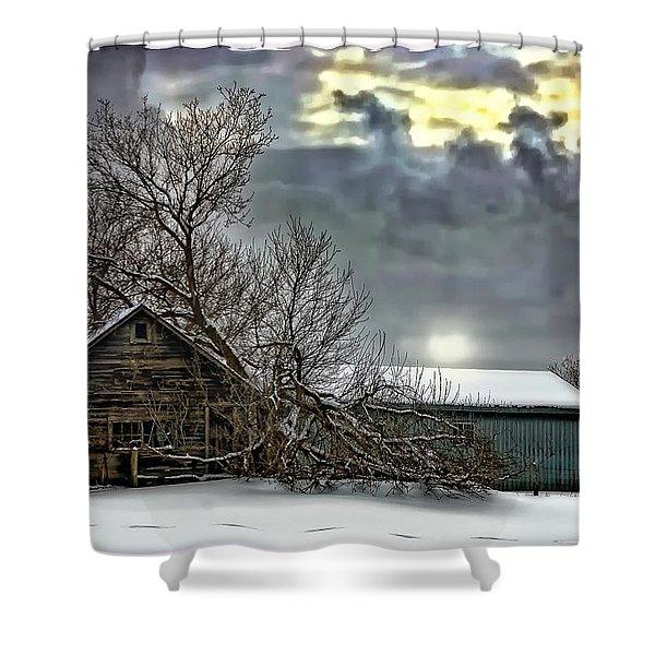 Winter Farm Polaroid Transfer Shower Curtain by Steve Harrington