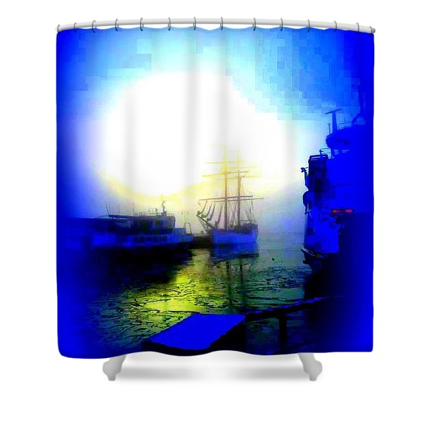 Winter harbour Shower Curtain by Hilde Widerberg
