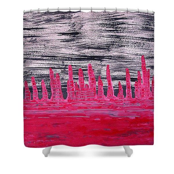 Winter Hoodoos Original Painting Shower Curtain by Sol Luckman