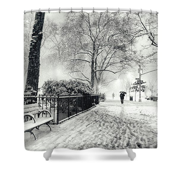 Winter Night - Snow - Madison Square Park - New York City Shower Curtain by Vivienne Gucwa