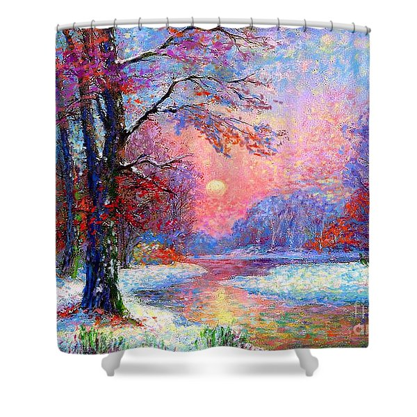 Winter Nightfall Shower Curtain by Jane Small