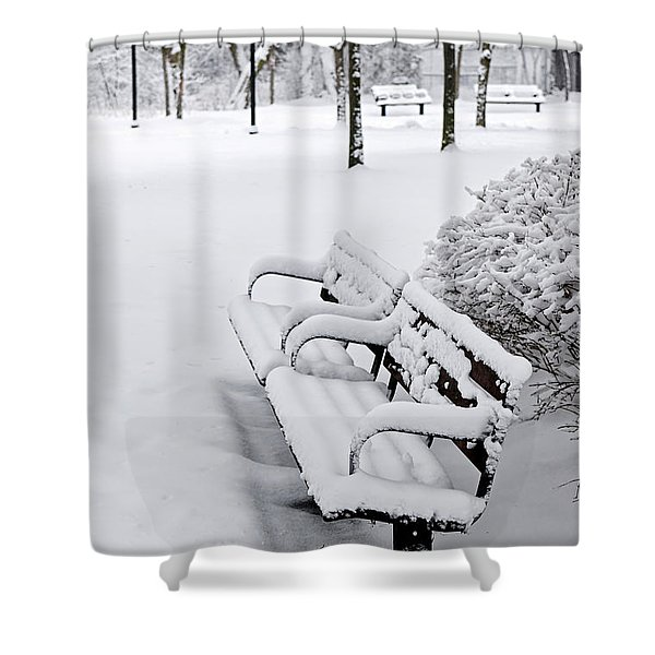 Winter park with benches Shower Curtain by Elena Elisseeva