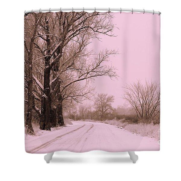 Winter Pink Shower Curtain by Carol Groenen