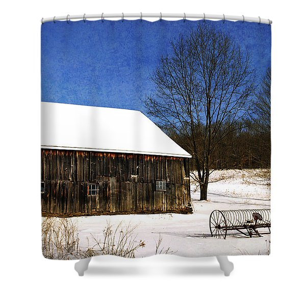 Winter Scenic Farm Shower Curtain by Christina Rollo