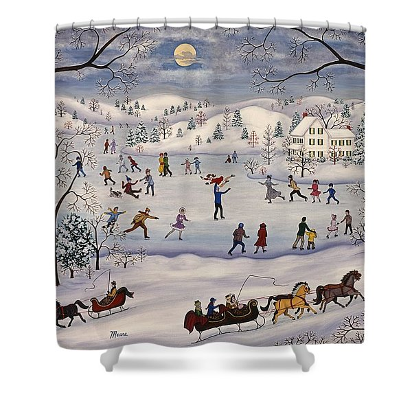 Winter Skating Shower Curtain by Linda Mears