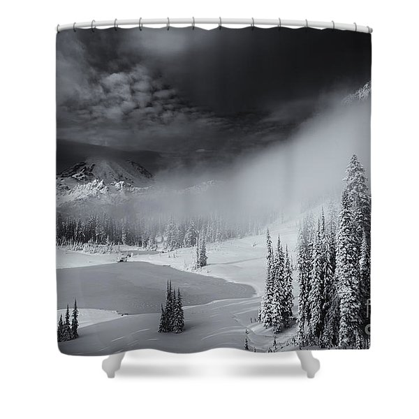 Winter Storm Clears Shower Curtain by Mike  Dawson