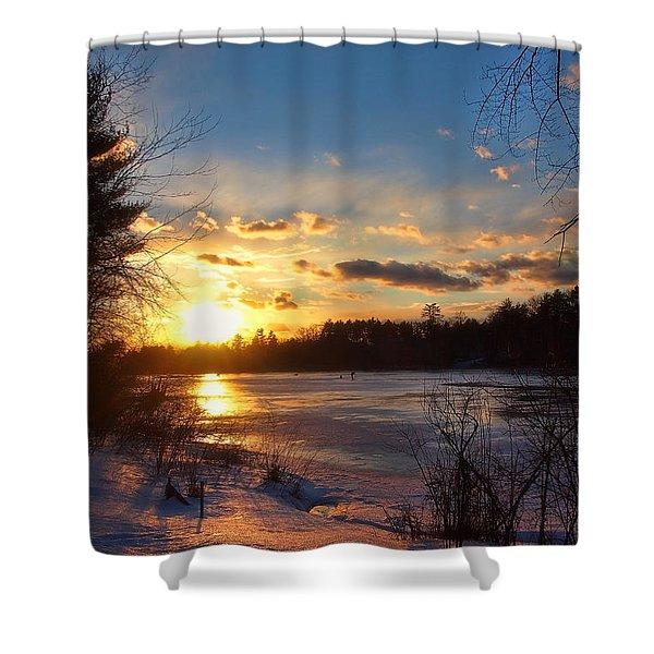 Winter Sundown Shower Curtain by Joann Vitali