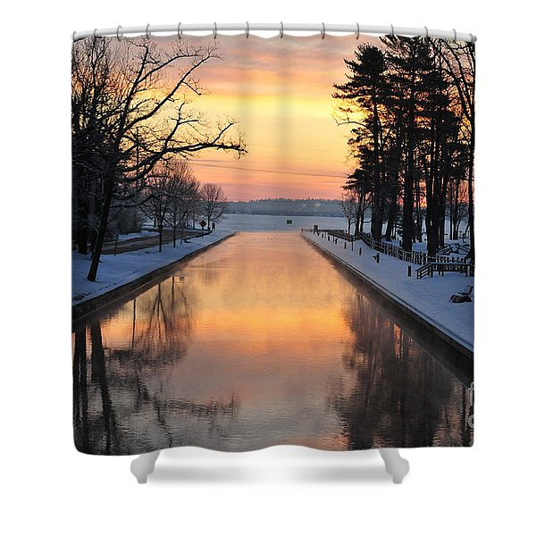 Winter Sunrise At Mitchell State Park Shower Curtain by Terri Gostola