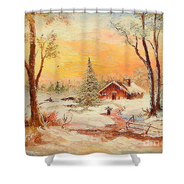 Winter Sunset Shower Curtain by Sorin Apostolescu