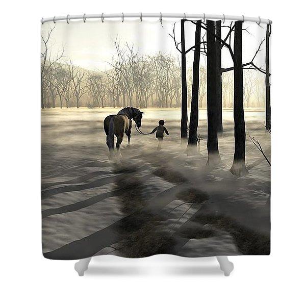 Winter Walk Shower Curtain by Cynthia Decker