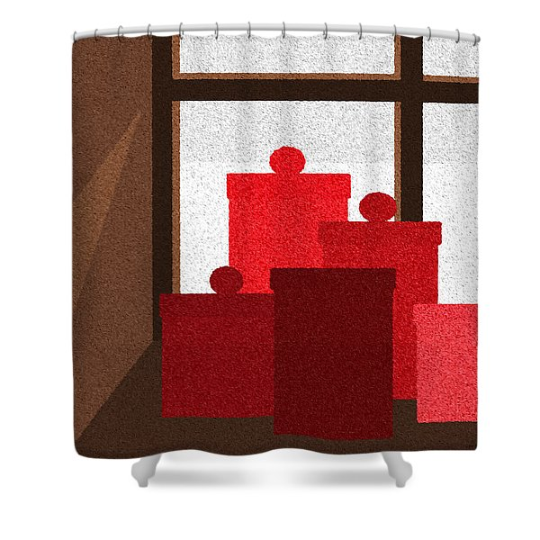 Winter Window Shower Curtain by Val Arie