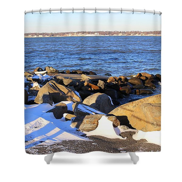 Wintry Day At The Bay Shower Curtain by Photographic Art and Design by Dora Sofia Caputo