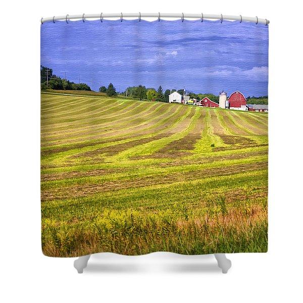 Wisconsin Dawn Shower Curtain by Joan Carroll