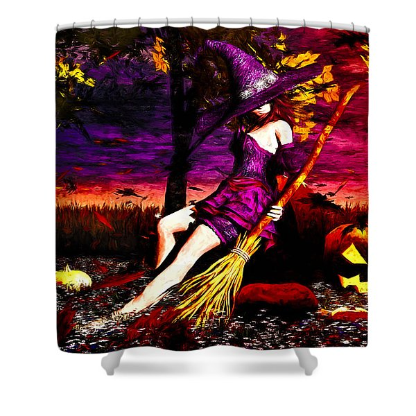 Witch in the Punkin Patch Shower Curtain by Bob Orsillo