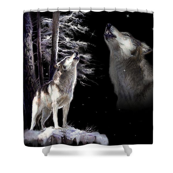 Wolf  howling memory Shower Curtain by Gina Femrite
