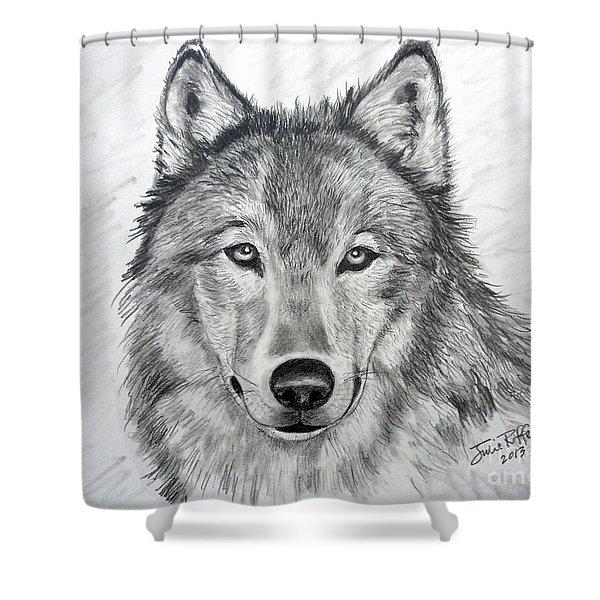 Wolf Shower Curtain by Julie Brugh Riffey