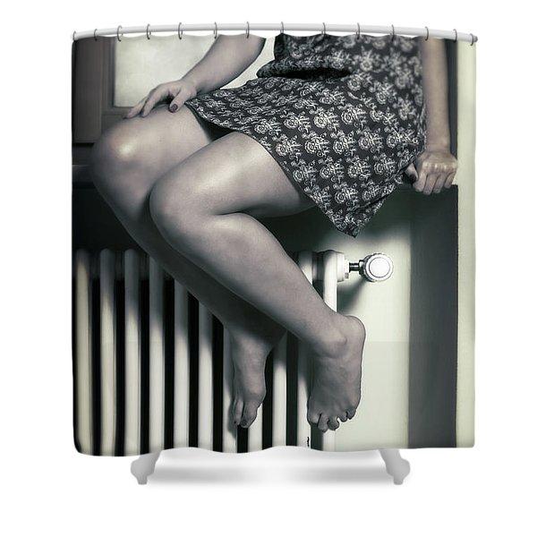 woman on window sill Shower Curtain by Joana Kruse