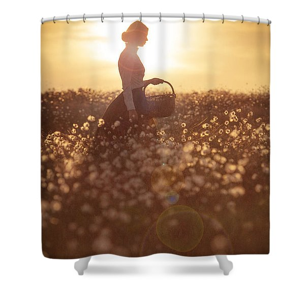 Woman With A Wicker Basket At Sunset Shower Curtain by Lee Avison