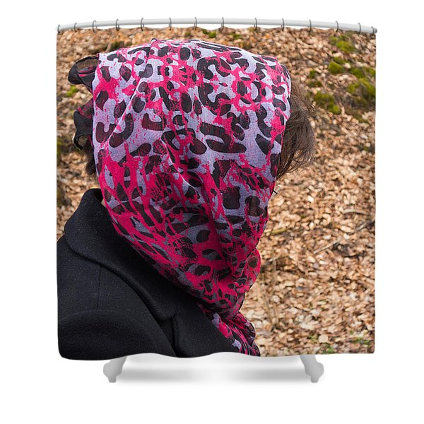 Woman With Headscarf In The Forest - Quirky And Surreal Shower Curtain by Matthias Hauser