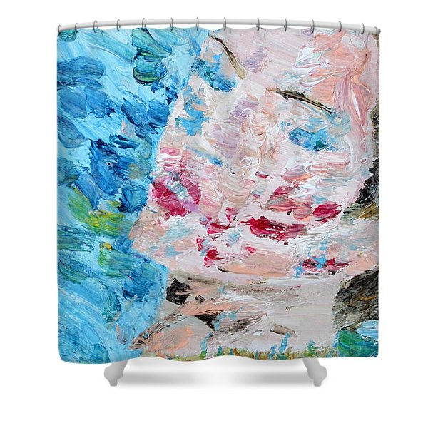 Woman With Necklace - Oil Portrait Shower Curtain by Fabrizio Cassetta