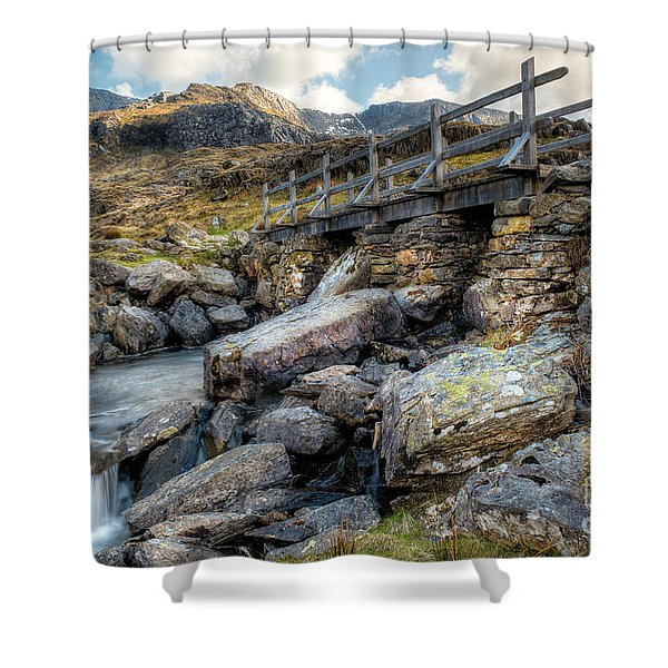 Wooden Bridge Shower Curtain by Adrian Evans