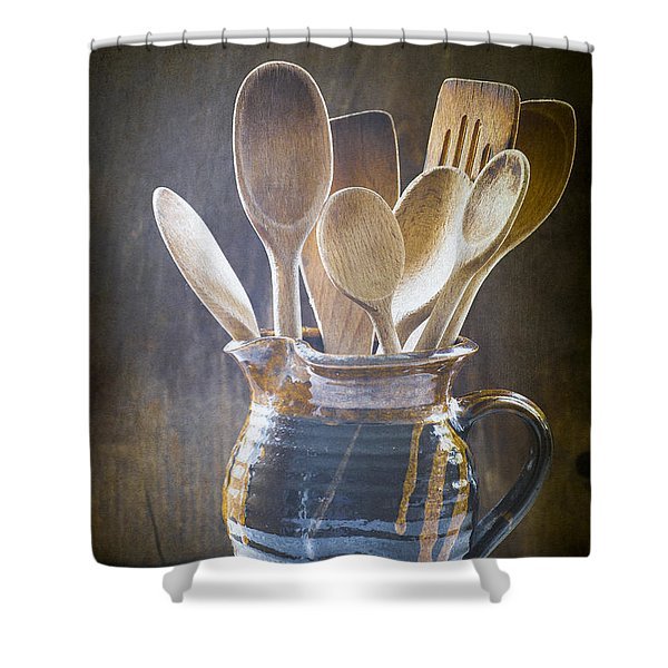 Wooden Spoons Shower Curtain by Jan Bickerton