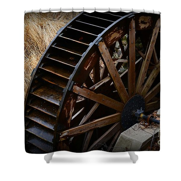 Wooden Water Wheel Shower Curtain by Paul Ward