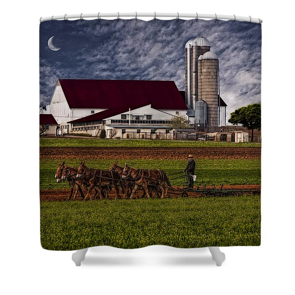 Working The Fields Shower Curtain by Susan Candelario