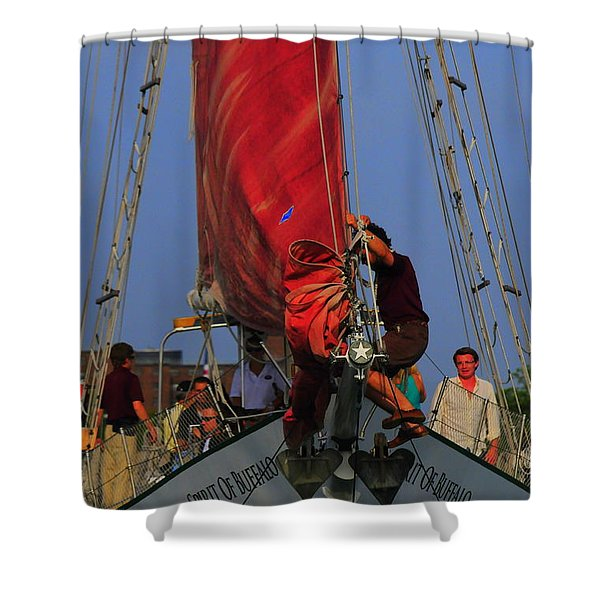 Working The Sails Shower Curtain by Kathleen Struckle