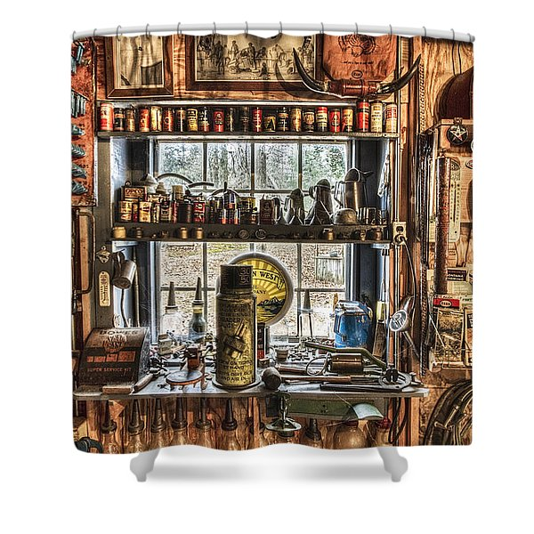 Workshop Shower Curtain by Debra and Dave Vanderlaan